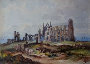 Whitby Abbey with Cattle, watercolour on paper, unsigned, attrib. Mary Weatherill, c1880.  Framed.