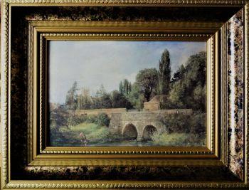 Gillingham Bridge, Dorset, offset-litho of original oil on canvas, signed John Constable 1823.  Framed.