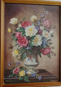 Still-life study of Roses in a Vase, offset-lithograph from original oil painting signed Albert Williams c 1980. Framed.