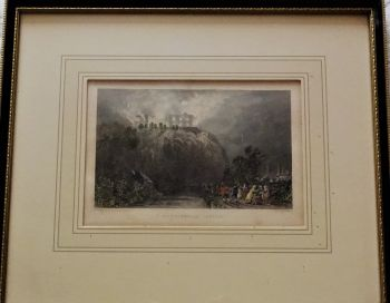 Nottingham Castle Burning, 10 October 1831, drawn by Thomas Allom, engraved by Robert Sands, c1836. Framed.
