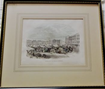 Market-Place and Exchange, Nottingham, wood engraving, signed T. Allom, c1852. Framed.