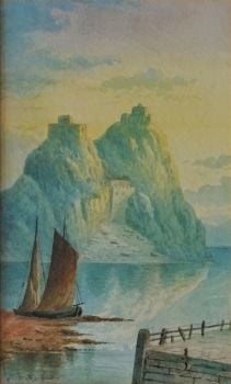 Dumbarton Rock, watercolour on paper, signed Tom Seymour, c1870. Framed.