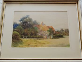 Daily Chat, near Sudbury Suffolk, watercolour and gouache, signed George Oyston, 1911. Framed.