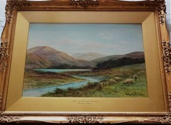 Near Loch Vennacher, Perthshire, Scotland, watercolour, signed George Oyston 1919. Framed.