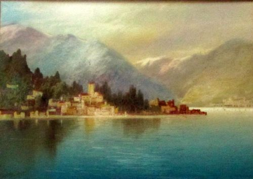 Near Dervio, Lake Como, watercolour, J. Shapland, c1900.