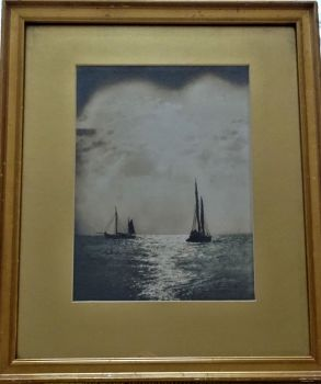 Fishing boats in the moonlight, Thames Estuary, photograph, c1950. Original frame.