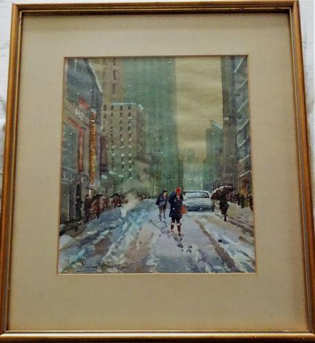 A winter scene off Broadway, New York, watercolour, signed Michael Crawley,