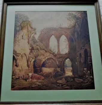 Cattle in a ruined Abbey, watercolour on paper, indistinctly signed. 19thC British School, c1880.