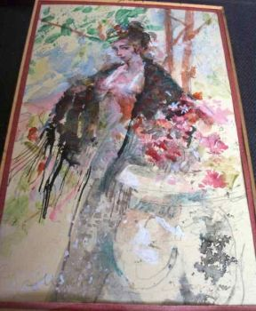 Young woman in a garden signed John Massimino c1975
