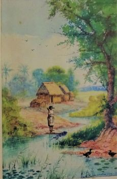 Malagasy Woman tending Ducks in rural scene, watercolour, signed A. Ramiandrasoa. c1910. Framed.