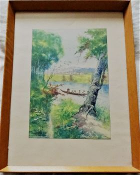 Malagasy Ferry Boat leaving river landing stage with Figures, watercolour, signed A. Ramiandrasoa. c1910. Framed.