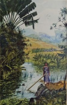 Malagasy Woman clearing Vegetation from River, watercolour, signed A. Ramiandrasoa, 1910. Framed.