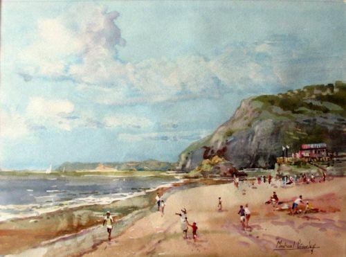 Sidmouth, Devon. watercolour signed Michael Crawley c1985.