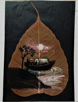 Boat off-shore in Moonlight, mixed-media and gouache on Pipal leaf, c1975. Framed.