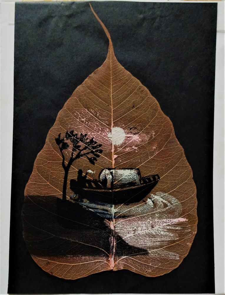Boat off-shore in Moonlight, mixed-media and gouache on Pipal leaf, c1975.
