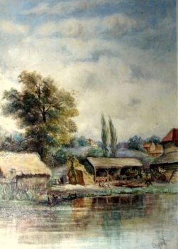 Riverside Farmyard Scene, watercolour, signed Bryant, c1880.  Framed.