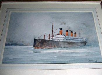 RMS Aquitania in Southampton Water, watercolour on paper, signed John Hardy Meadows, 1977.