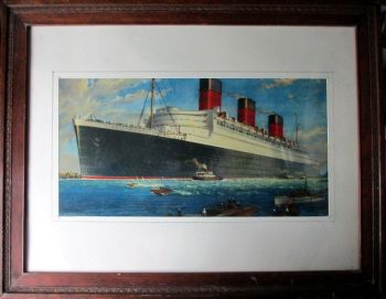 RMS Queen Mary, 1934. From the original watercolour signed William McDowell, with the compliments of Marconiphone. Print. c1938.
