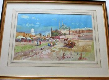 Outside Cairo, watercolour on paper, signed Michael Crawley. c1990. Framed and glazed.