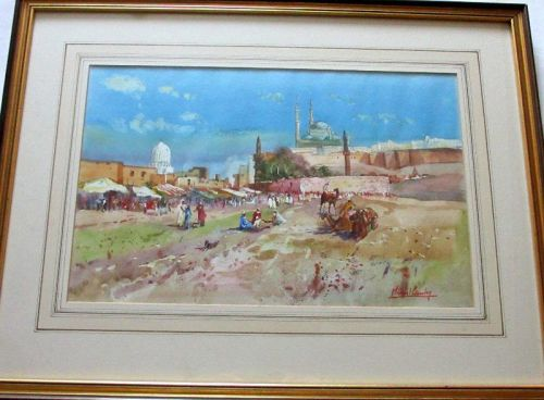 Outside Cairo, watercolour on paper, signed Michael Crawley. c1990. Framed