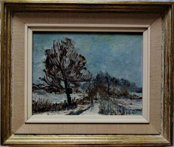 A cold Winter landscape, oil on board, signed Joan Peet, c1975. Framed.