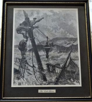The Late Storm, The Volunteer Life Brigade in Shipwreck Rescue, engraving. c1886. Framed.
