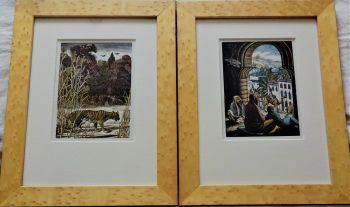A pair of colour Wood Engravings, A Tiger! A Tiger! and The Procession, Gwen Raverat, 1937. Framed.