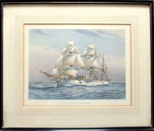 HMS Calliope, colourlitho, 1890.