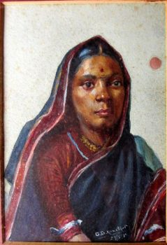 Indian Woman, portrait study, watercolour, signed G.G. Kanetkar, 29/8/18.