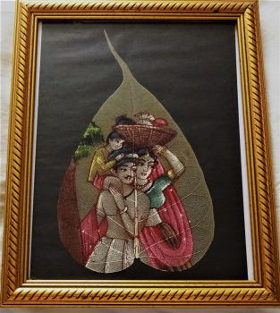 INDIAN LEAF PAINTING, GOUACHE, FRAMED AND GLAZED, c1970's