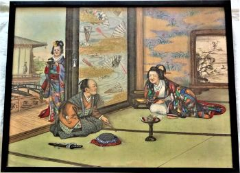 Japanese Geisha scene, mixed-media woodblock and gouache on silk, late 19th/early 20thC, original ebonized frame.