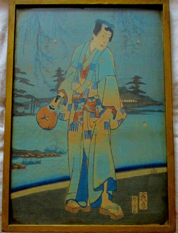 Ukiyo-e, Genji and Women catching Fireflies, woodblock.
