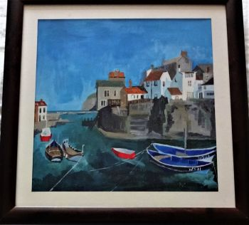 Staithes Harbour, North Yorkshire, oil on board, signed and titled Helen Wilkinson, Staithes, verso, c1990. Framed.