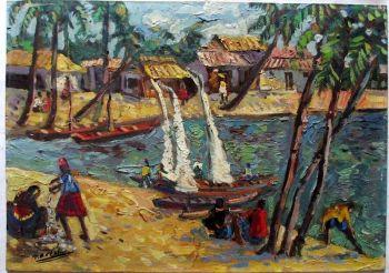 Fishermen's Village, Dar es Salaam, gouache on board, signed Naresh (Naresh Sengupta). c1965.