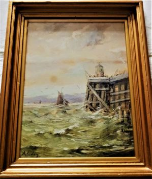 Fishing Boat entering  Zeebrugge Harbour, watercolour and gouache, signed H. Arden, c1906. Framed.