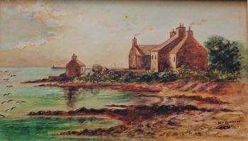 Coastal scene, watercolour on card, signed M.T. Barratt dated 1967.