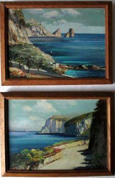 Coastal Scenes of Capri, a Pair, oil on panels, signed G. Esposito. c1900.