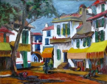 Continental Town Scene, acrylic on paper, laid to glass, unsigned. c1980.