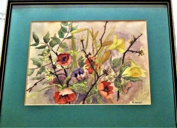 Study of Flowers, Daffodils, Poppies and Hawthorns, watercolour on paper, signed M. Knight, 1977. Framed.