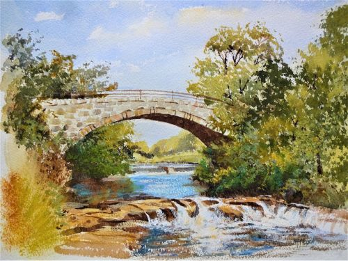 Old Stone Bridge, River Endrick, Stirlingshire, Scotland, watercolour and g