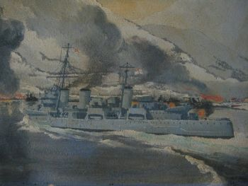 HMS Enterprise bombarding Narvik 1940, oil on board, signed A.J. Smart.  Framed.
