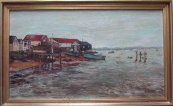 Boat-yard on the Thames Estuary, oil on board, signed P.M. Arnold, c1980. Framed.