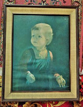 Childhood, lithograph, Anna Katrina Zinkeisen, signed AZ, c1965. Framed.