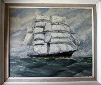 "British Clipper Ship ""Cutty Sark"" under way, oil on canvas, signed Rob Milliken 1966."