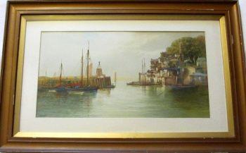 Brixham Harbour, watercolour on paper, signed J. Shapland. c1890.