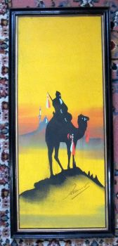 Camel and Rider in Silhouette at Dusk, gouache on paper, signed Hamed, c1900.