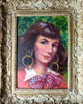 A Gypsy Girl, oil on board, signed Kathleen Bamford. c1960. Framed.