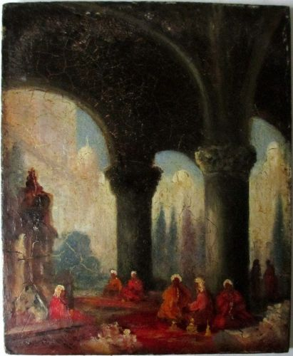 Arabs in Conversation in a Ruined Temple, oil on wooden panel, signed W. Mu