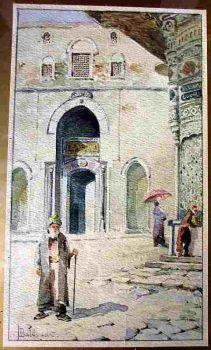 Cairo Street Scene, watercolour on paper signed T. Baldasar. c1900. Original frame.