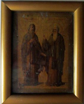 Iconic Study of Two Saints, oil on vellum laid to panel, 19th C Eastern Orthodox School, c1885.